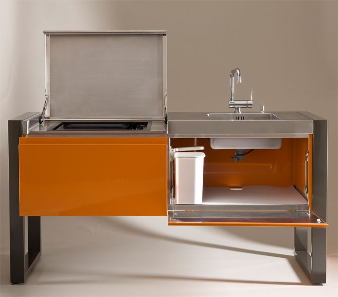 cuisine d 39 exterieur avec plancha evier 1800 jardinchic. Black Bedroom Furniture Sets. Home Design Ideas