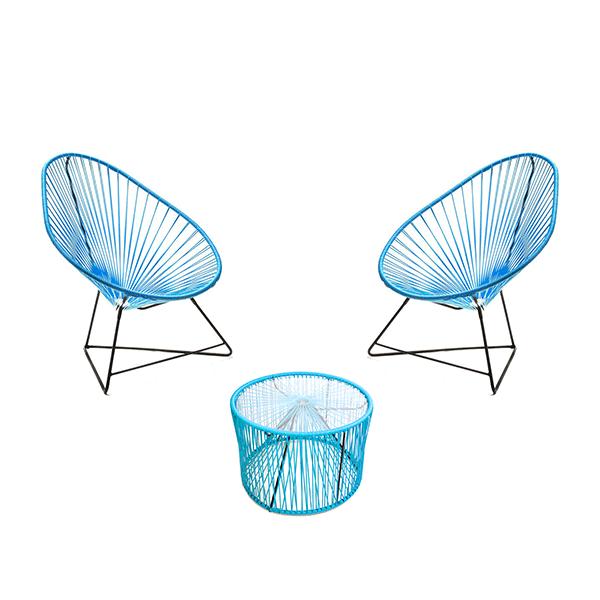 Salon de jardin 2 fauteuils acapulco 1 table basse for Fauteuil pour table basse