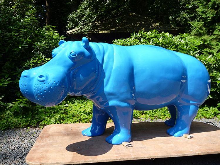 Statue hippopotame laqu jardinchic for Objet decoration hippopotame