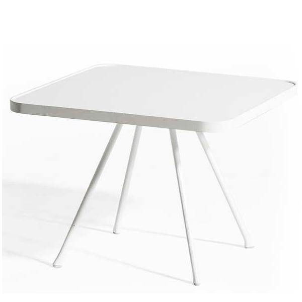 Table basse attol aluminium carr e jardinchic - Table blanche carree ...