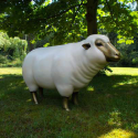 Statue Brebis Blanc Tête Or