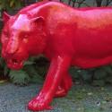 Statue Lionne Rouge Laqué