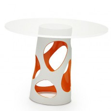 Pied de Table Liberty Blanc / Orange et Plateau Liberty Verre MyYour JardinChic