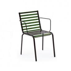 Lot de 4 Chaises empilables Striped avec Accoudoirs Vert/Vert Magis JardinChic