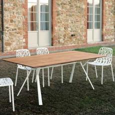 Table Rectangulaire L200cm Plateau Teck Radice Quadra Fast JardinChic