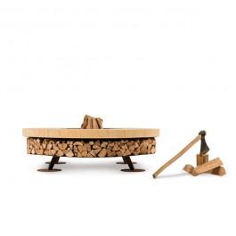 Braséro Ercole Teak Wood Small Marbre AK47Design JardinChic