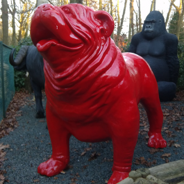 Statue Bulldog Anglais XXL Rouge Laqué TexArtes Jardinchic