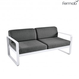 Canapé 2 places Bellevie Coussins Gris Graphite Blanc Coton Fermob Jardinchic