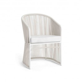 Chaise de Repas Tibidabo Structure Blanche Cordage Blanc Varaschin Jardinchic