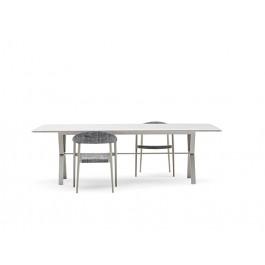 Table de Repas Deer Plateau HPL Blanc Structure Gris Soie Varaschin Jardinchic