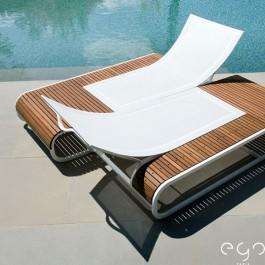 2x Bains de soleil Tandem Teck Cannage Blanc (Structure Laque Blanc sur demande) EGO Paris JardinChic