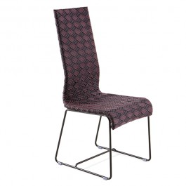 Chaise de Repas Kente Structure Moka - Assise multicolore marron Varaschin Jardinchic