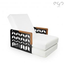 Kube Chevrons Transformable Angles Teck Laque Noir Satiné Vinyle Blanc Mode Fauteuil EGO Paris