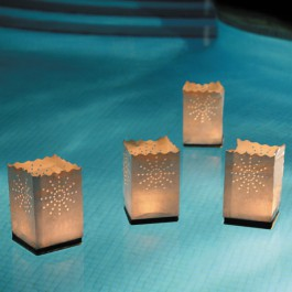 Lot de 4 Lanternes en Papier Flottantes Ambiance Piscine Luminaria JardinChic