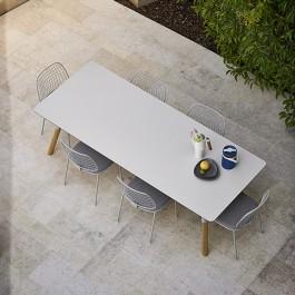 Table de Repas Link Pieds Teck Plateau Ciment Varaschin Jardinchic