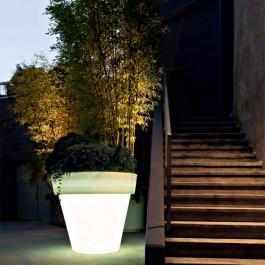 Pot Lumineux Vas One Light neutre Banc Roméo Serralunga JardinChic