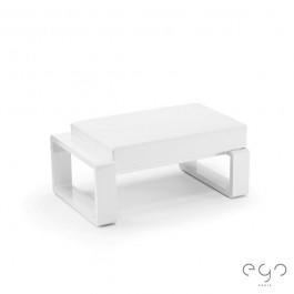 Pouf Ottoman Kama (Structure Laque Blanc sur demande) Coussin Vinyle Blanc Ego Paris Jardinchic