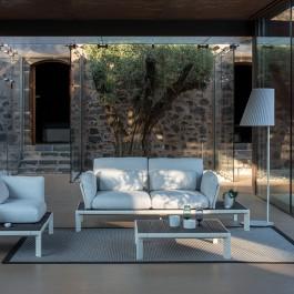 Sofa 2 Places Tami Structure Blanc Tissu Blanc Emu Jardinchic