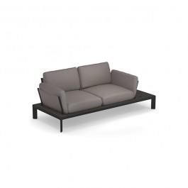 Sofa 2 Places Tami Structure Noir Tissu Gris Emu Jardinchic