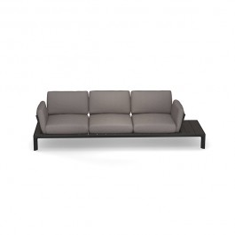 Sofa 3 Places Tami Structure Noir Tissu Gris Emu Jardinchic