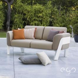 Sofa 2 Places Structure Blanc Laqué Tissu Sunbrella Havana Ego Paris Jardinchic