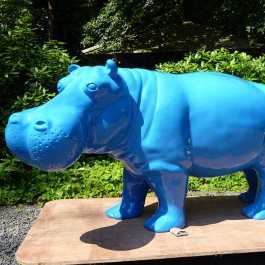 Statue Hippopotame Laqué Bleu Fluo Tex Artes Jardinchic