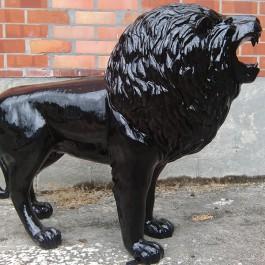 Statue Lion Noir Laqué TexArtes Jardinchic