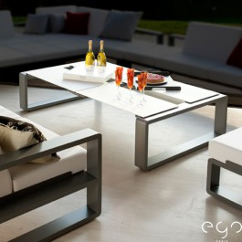 Table Modulable Kama Ceramique argent detouré Ego Paris JardinChic