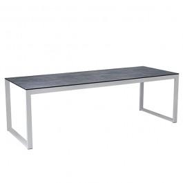 Table de Repas Perspective 240x90cm Blanc Plateau Effet Béton Clair Vlaemynck Jardinchic