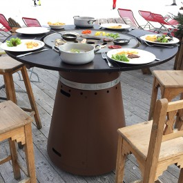 Table haute bras ro plancha fusion gaz jardinchic for Table brasero exterieur