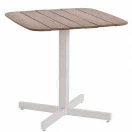 Table Carrée Plateau Teck Shine Blanc Casse Emu JardinChic