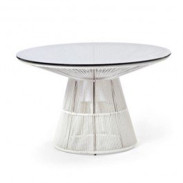 Table de repas Ø120cm Structure Blanc  - Cordage Blanc - Plateau verre Varaschin Jardinchic