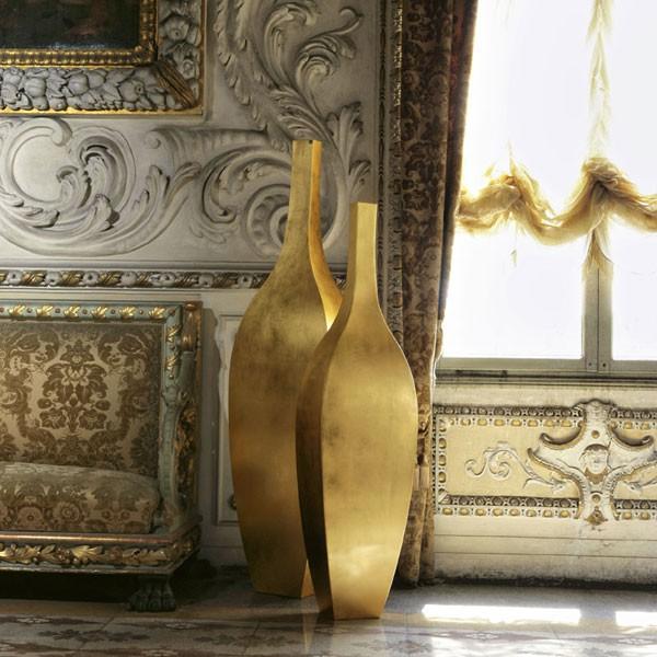 Vases Rocco Fer Finition Feuilles d'Or - Usage Intérieur - De Castelli Jardinchic