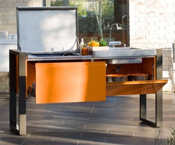 cuisine d 39 exterieur avec plancha evier 1800 jardinchic. Black Bedroom Furniture Sets. Home Design Ideas