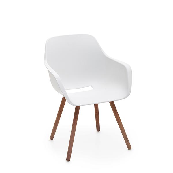 Captain's Chair Blanc piétement Bois Extremis JardinChic