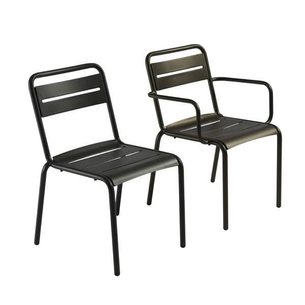 lot de 4 chaises avec accoudoirs star jardinchic. Black Bedroom Furniture Sets. Home Design Ideas