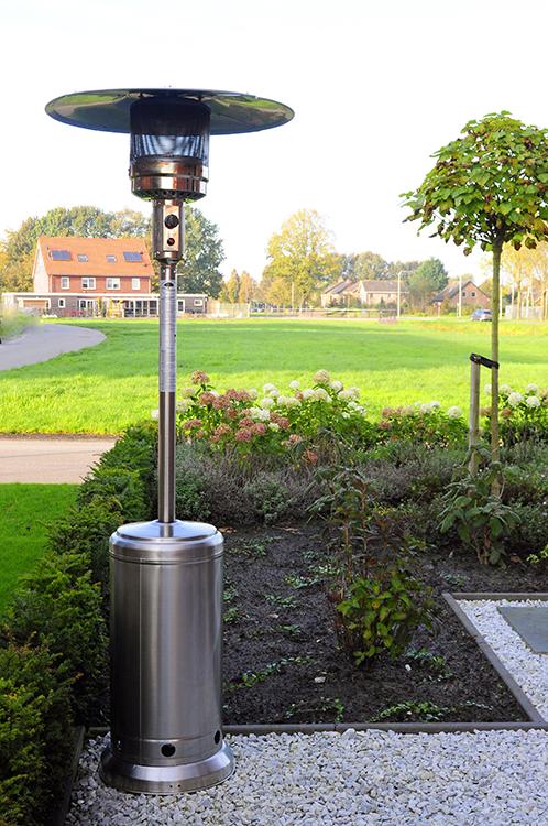 Chauffage d 39 ext rieur gaz acier inox jardinchic for Chauffage exterieur gaz design