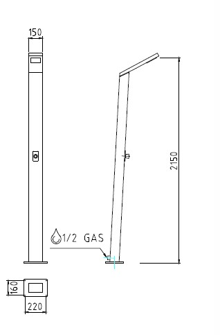 douche d 39 ext rieur solaire solaris t te de douche encastr e inox jardinchic. Black Bedroom Furniture Sets. Home Design Ideas