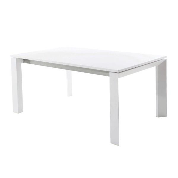 Table de Repas avec rallonge Dolmen Structure Blanc et Plateau HPL Blanc Varaschin Jardinchic