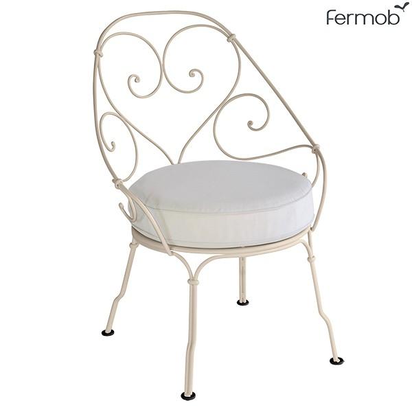 fauteuil cabriolet 1900 coussin blanc gris jardinchic. Black Bedroom Furniture Sets. Home Design Ideas