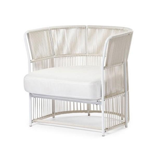 Fauteuil Tibidabo Structure Blanc - Cordage Blanc Varaschin Jardinchic