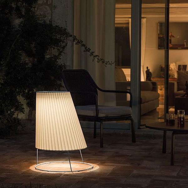 Grande Lampe Cone Blanc Mat - Imprimé Plissé Emu Jardinchic
