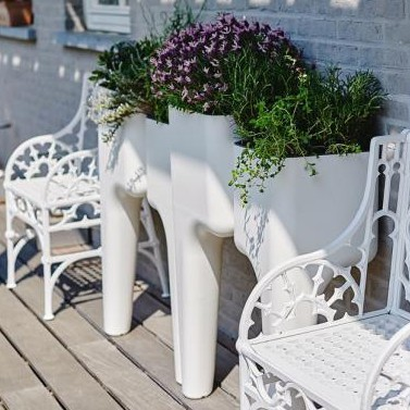 Jardinière Potagère Kiga M Blanc Hurbz JardinChic