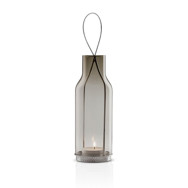 Lanterne En Verre Transparent Gris Fumé 25cm Blanc Eva Solo JardinChic