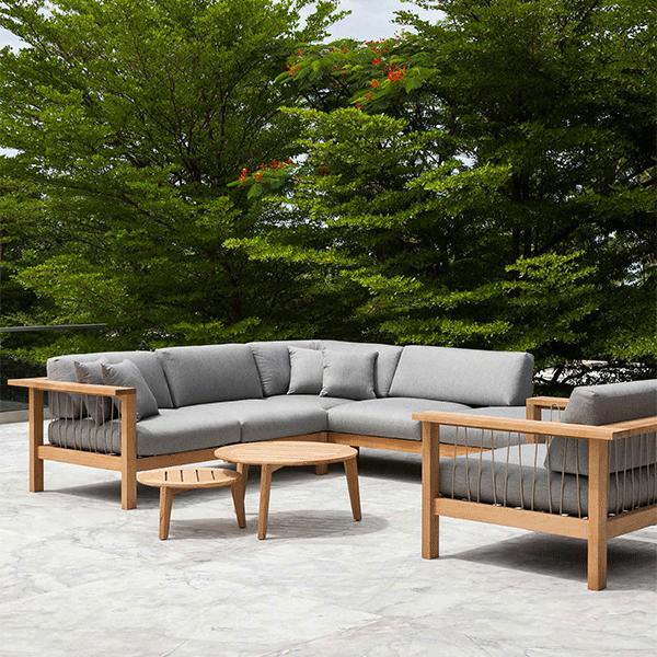 canap chaise longue droite maro teck cordage argile jardinchic. Black Bedroom Furniture Sets. Home Design Ideas