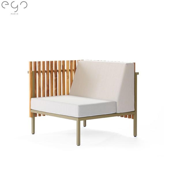 Module d'Angle Sutra Laque Semi Gloss Kaki et Coussins Argent Or EGO Paris Jardinchic