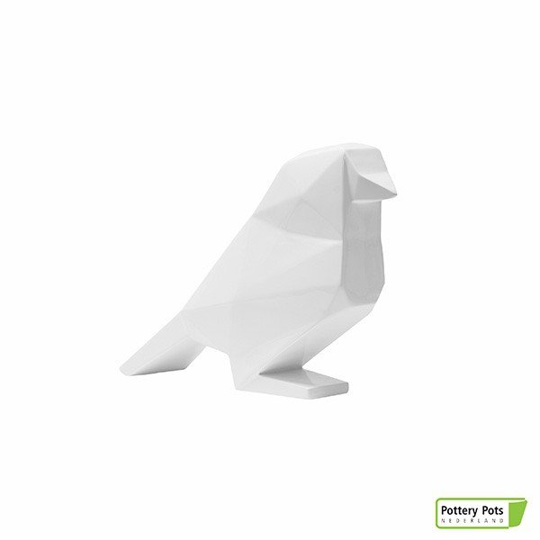 Oiseau Origami Bird Paper Format S Glossy White Pottery Pots