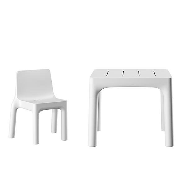 Chaise et Table de Repas Simple Blanc Plust Jardinchic