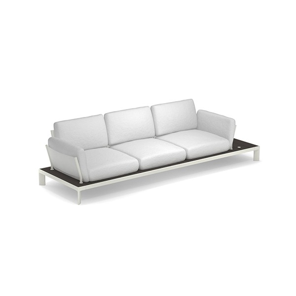 Sofa 3 Places Tami Structure Blanc Tissu Blanc Emu Jardinchic