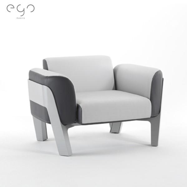 Fauteuil Bienvenue Structure Laque Blanc Coussins Tissu Bicolore Vinyle Stockholm EGOParis Jardinchic